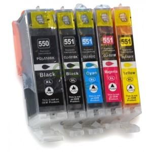 Canon PGI550 + CLI551 - Pack de 5 Tinteiros Genéricos